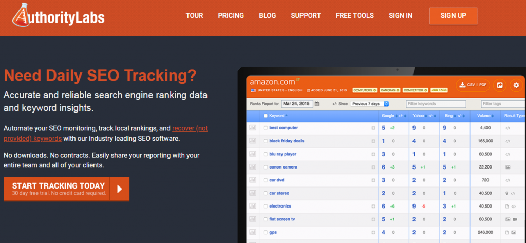 authority labs - seo rank tracking tool