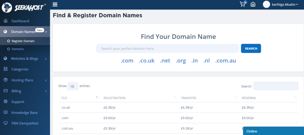 Find and register your domain name
